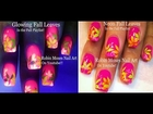Easy Nail Art Tutorial | Diy Fall Leaves for beginners | Glowing Nail Designs
