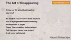 Naomi Shihab Nye - The Art of Disappearing