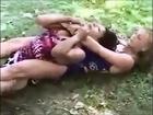 Russian women bikini wrestling (choking female wrestling, side headlock and headscissor leg lock)